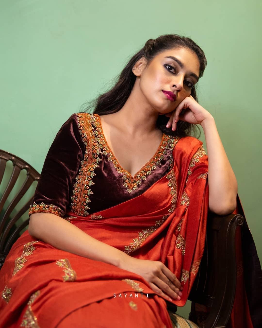 Brown velvet blouse-Sayanti ghosh