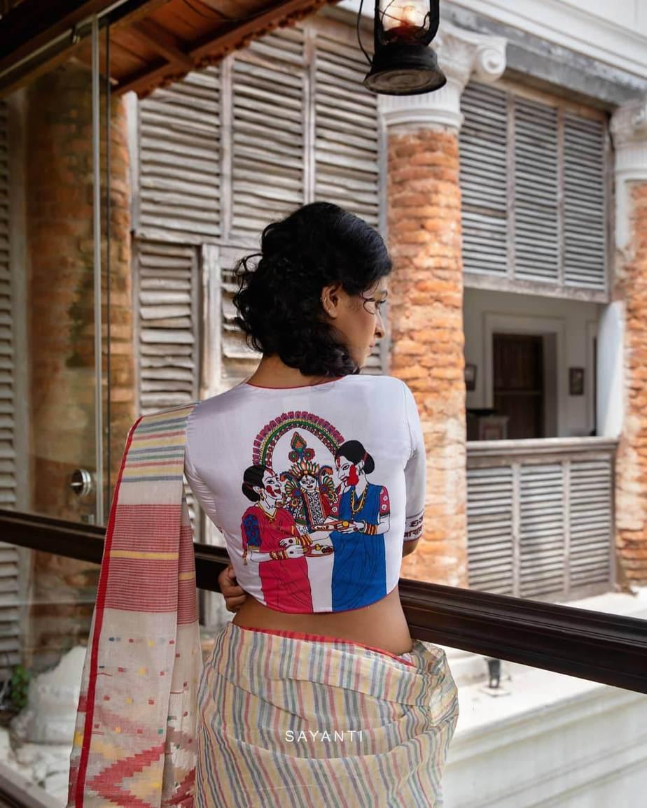 Dashami hand painted blouse-Sayanti ghosh-1