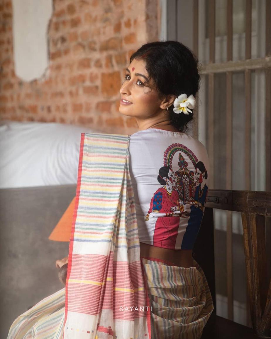Dashami hand painted blouse-Sayanti ghosh-2