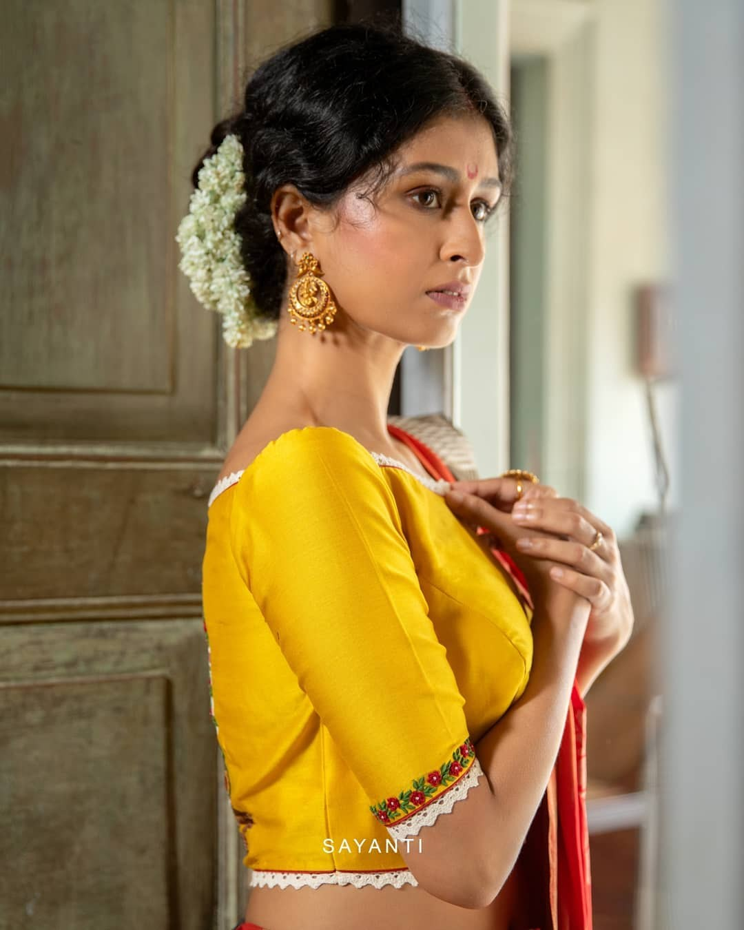 Dhanteras hand painted blouse- sayanti Ghosh-2