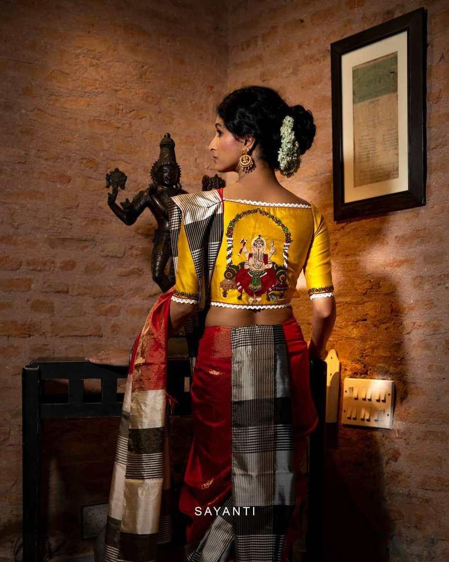 Dhanteras hand painted blouse- sayanti Ghosh