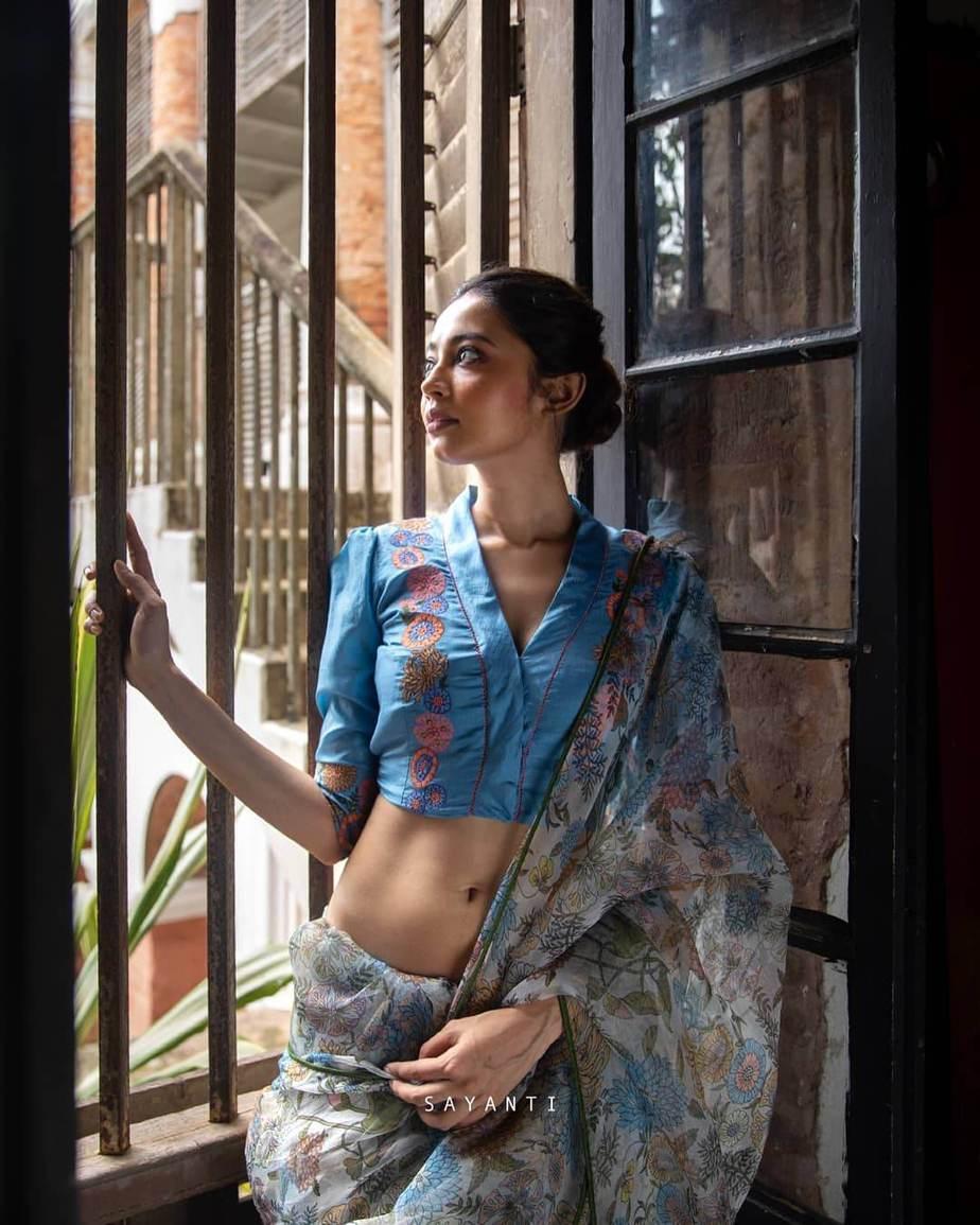 Digitlal print Dungaree style saree with blue blouse .-Sayanti Ghosh-1