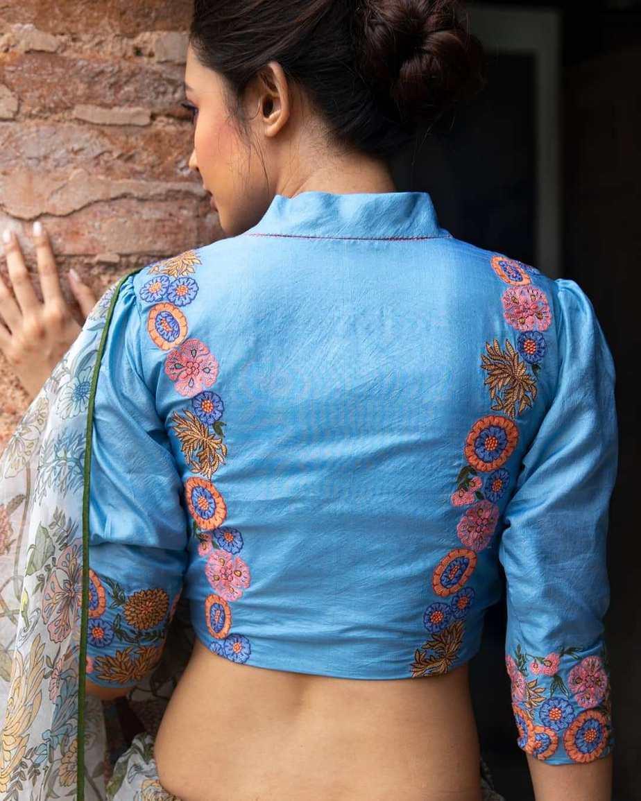 Digitlal print Dungaree style saree with blue blouse .-Sayanti Ghosh-2