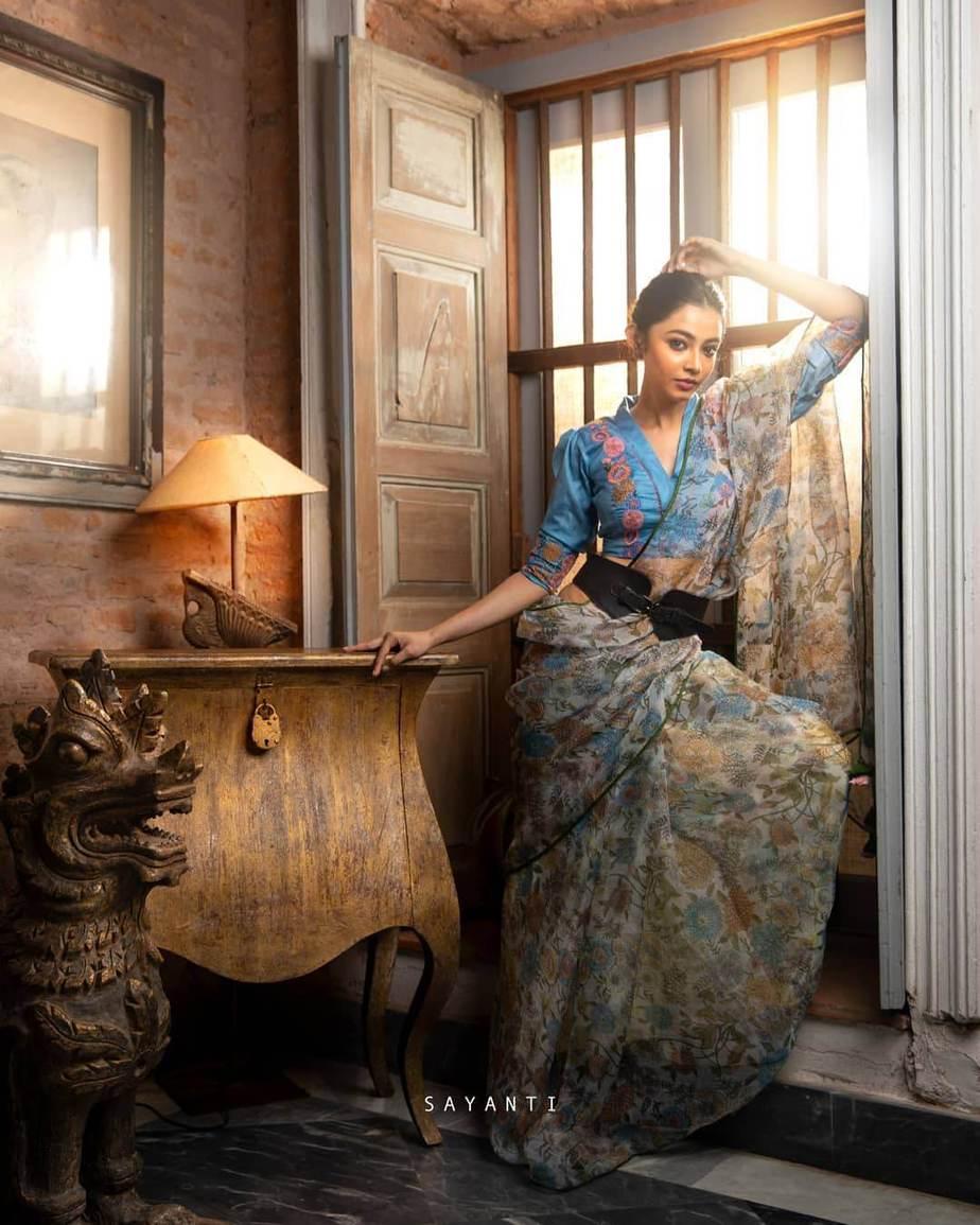 Digitlal print Dungaree style saree with blue blouse .-Sayanti Ghosh