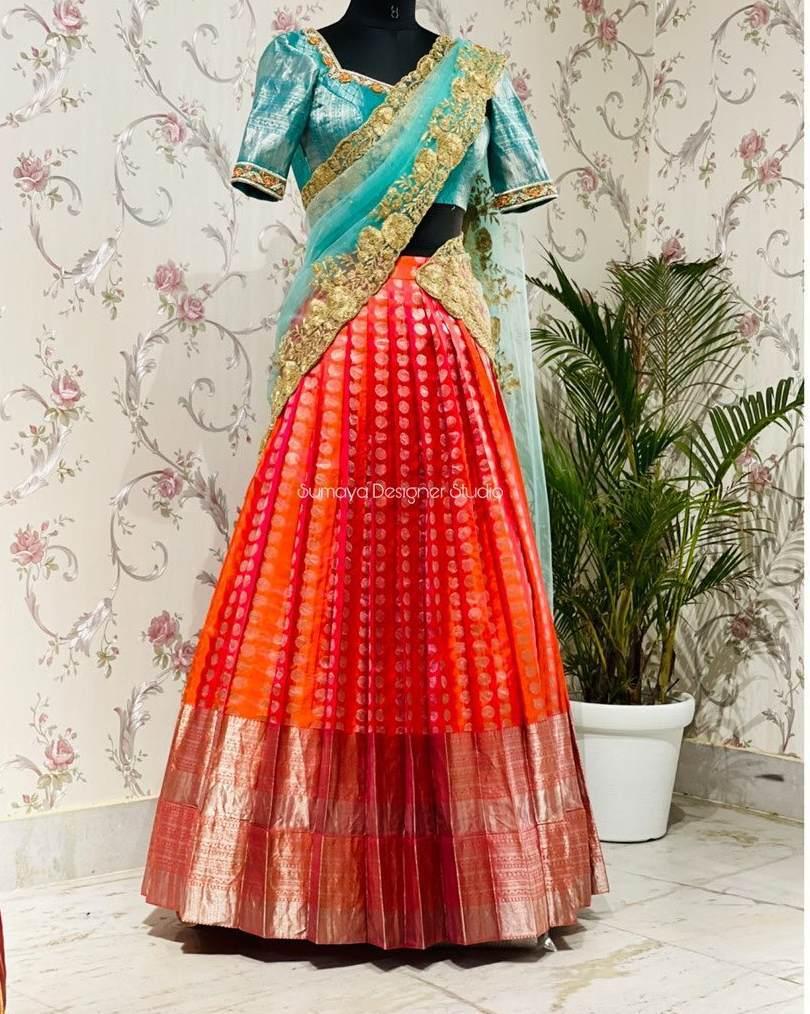 Double panneled half sarees-Sumaya Designers