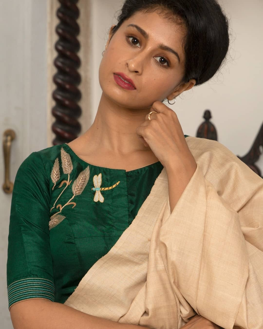 Dragonfly embroidery blouse-sayanti Ghosh
