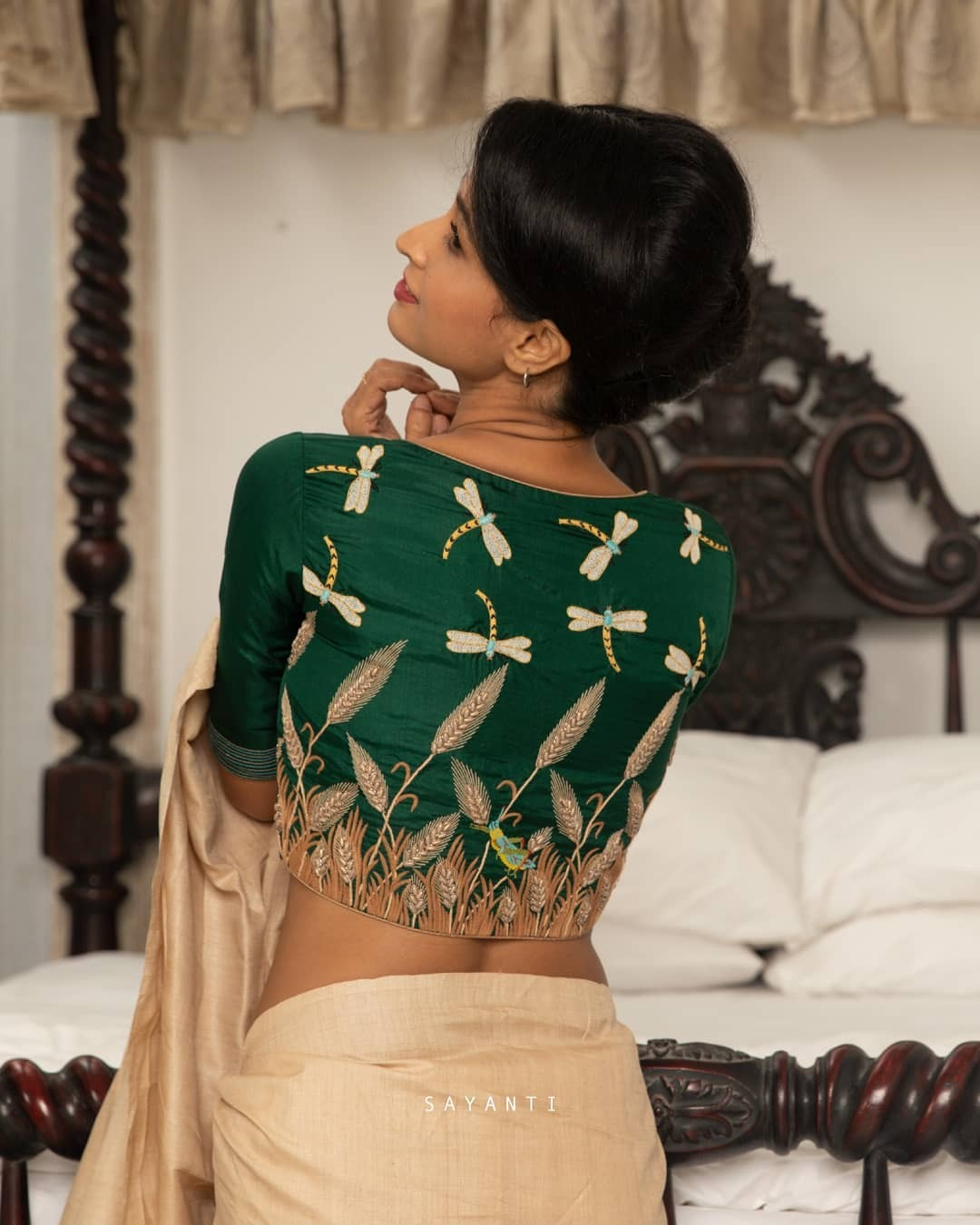 Dragonfly embroidery blouse-sayanti Ghosh1