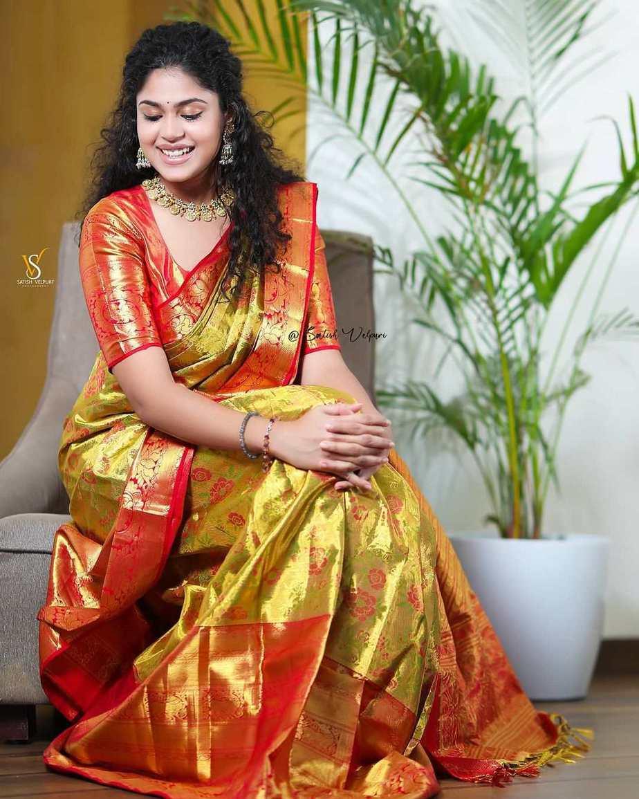 Faria Abdullah in a gold pattu saree-4