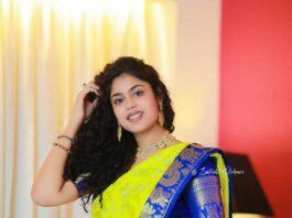 Faria Abdullah in a neon green pattu saree-2