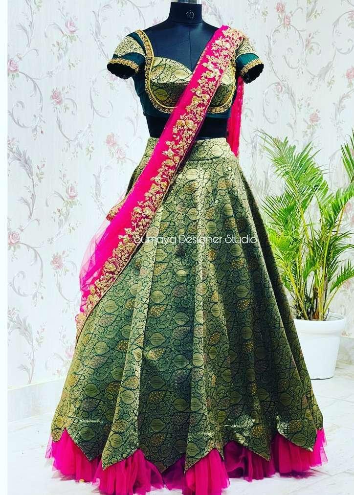 Forest green-pink half saree-Sumaya designer-1