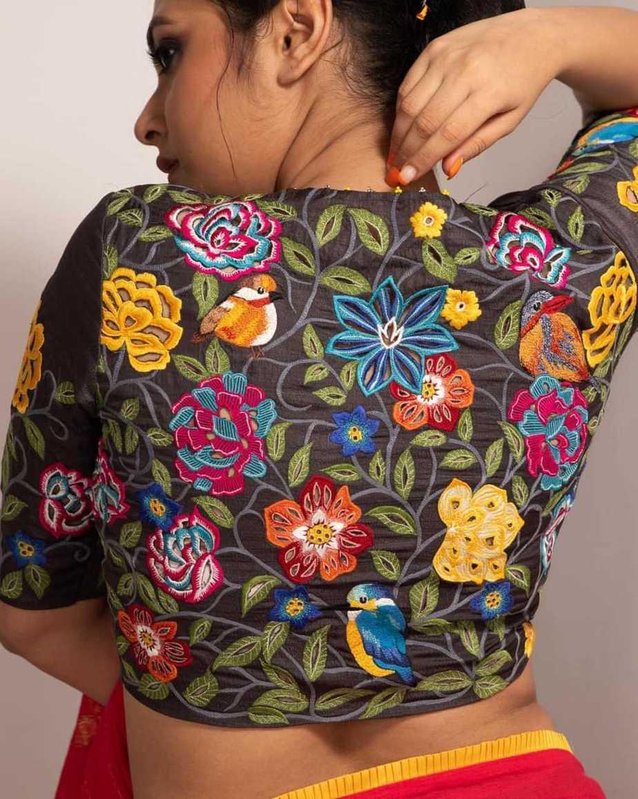 Garden embroidery blouse-Sayanti Ghosh
