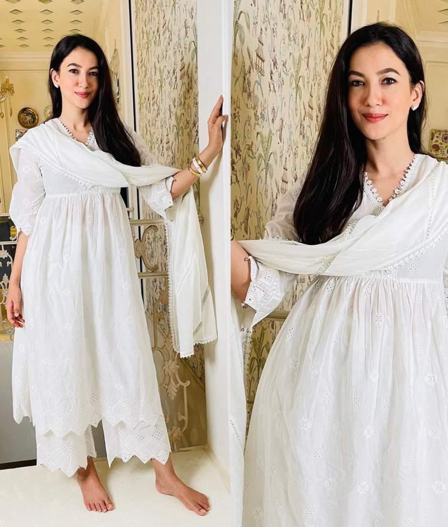 Gauahar khan in white mulmul kurta