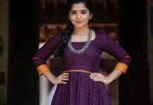 Gouri G kishan in purple long dress b y Magizham