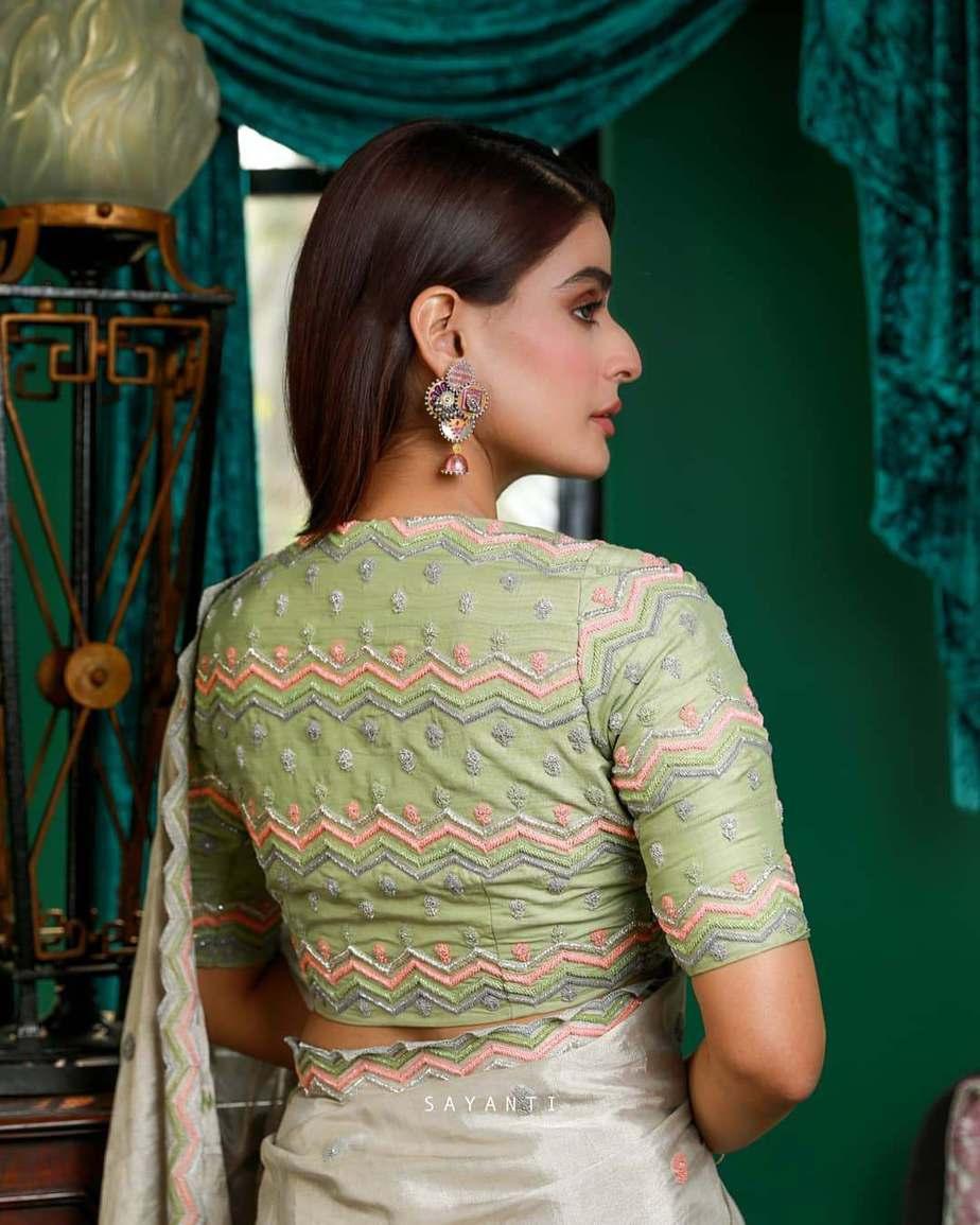 Green pastel embroidered blouse- Sayanti Ghosh-1