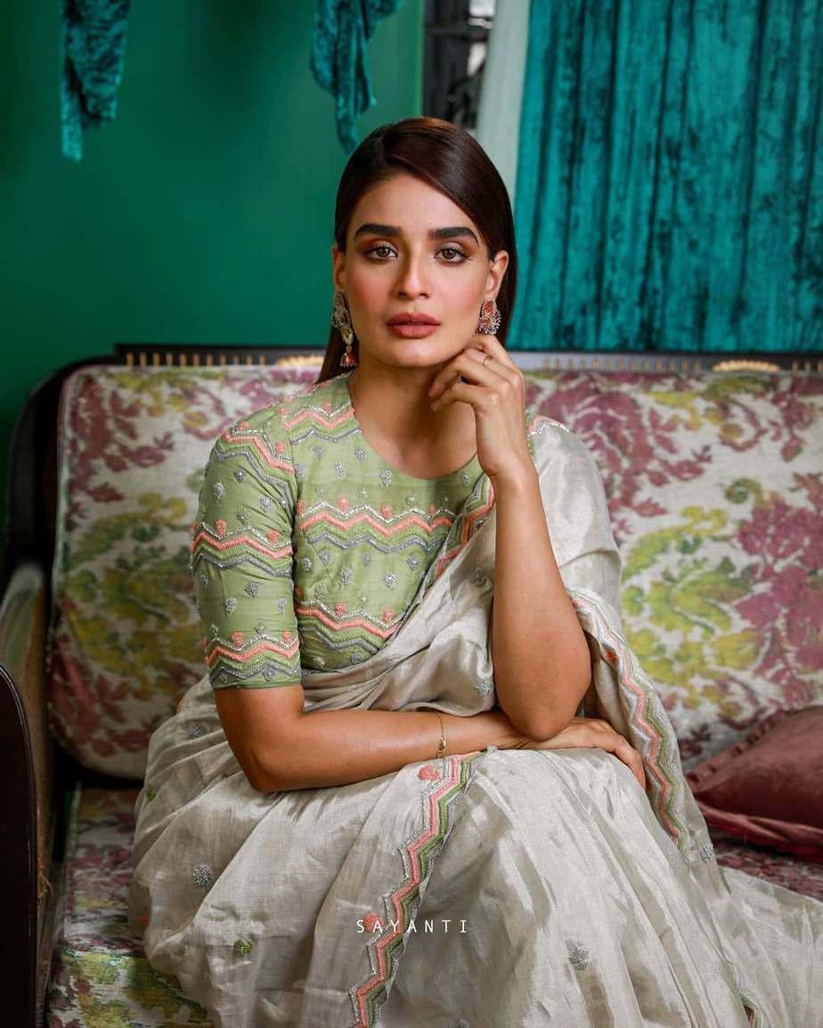 Green pastel embroidered blouse- Sayanti Ghosh