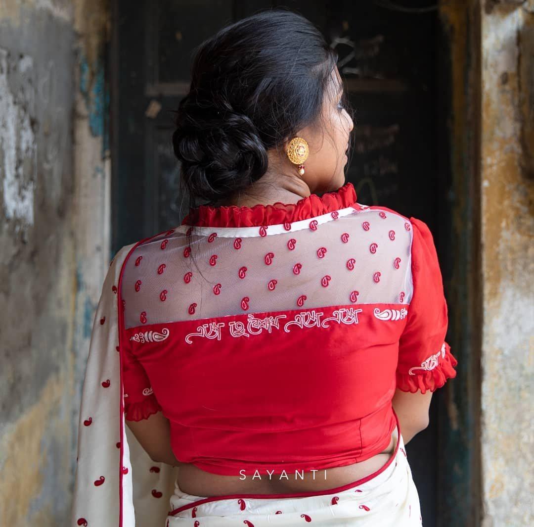 Handpainted baisakhi theme blouse-Sayanti Ghosh-1