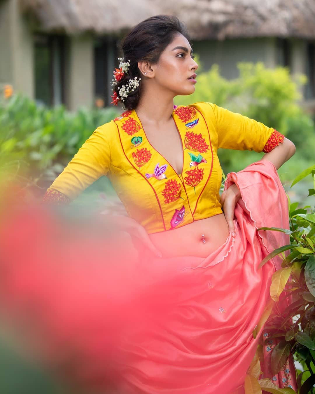 Handpainted yellow blouse with kingfisher-2