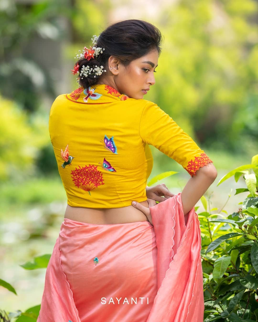Handpainted yellow blouse with kingfisher