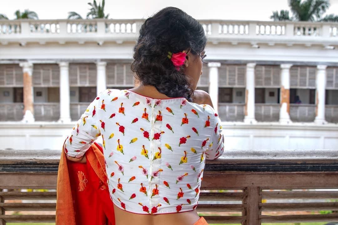 Hibiscus red saree-Sayanti Ghosh-2
