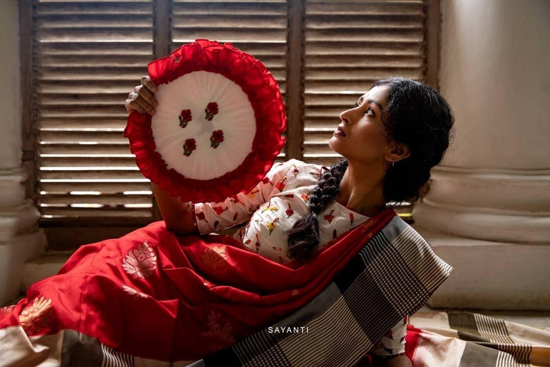 Hibiscus red saree-Sayanti Ghosh