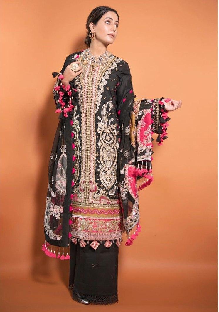 Hina Khan in a black kurta set by Maryam hussain-1
