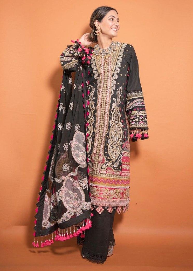 Hina Khan in a black kurta set by Maryam hussain-2
