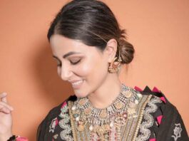 Hina Khan in a black kurta set by Maryam hussain-4