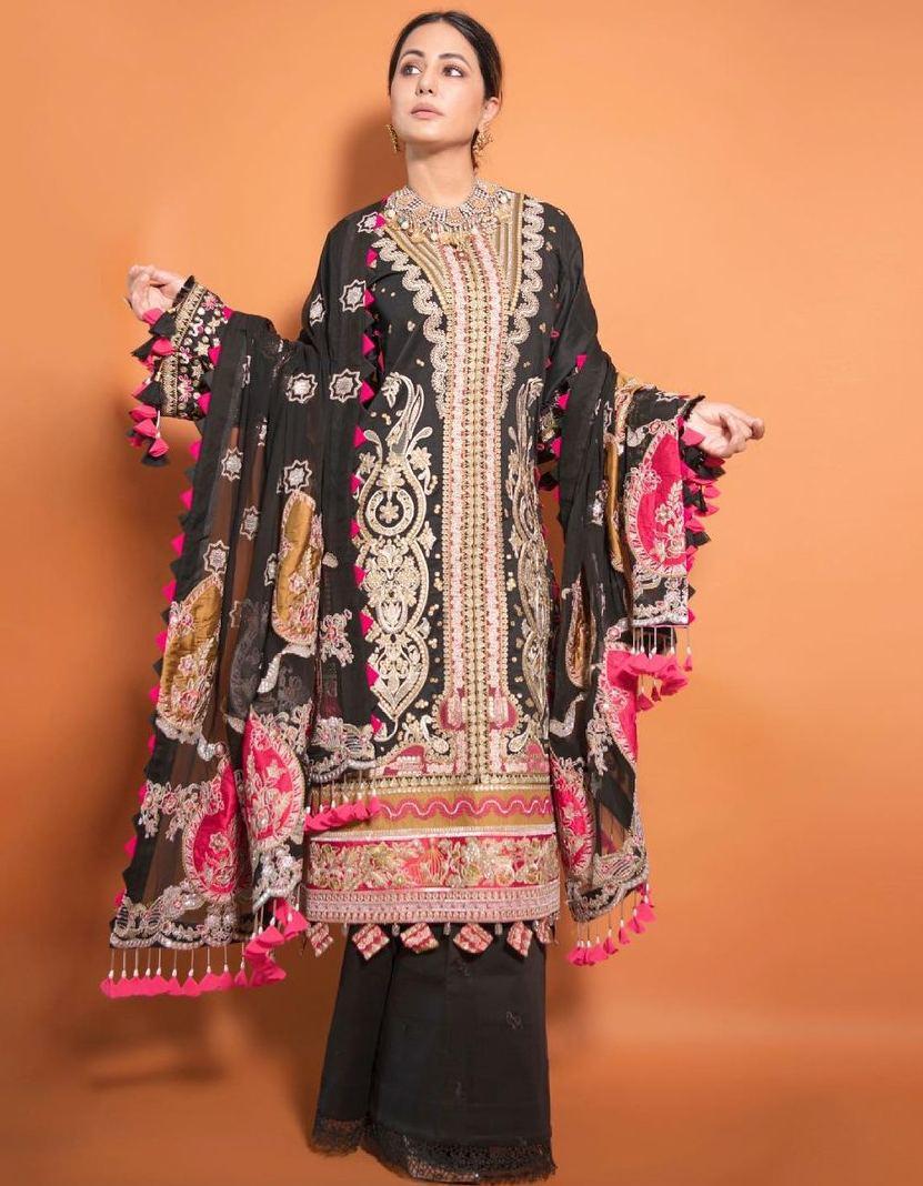 Hina Khan in a black kurta set by Maryam hussain