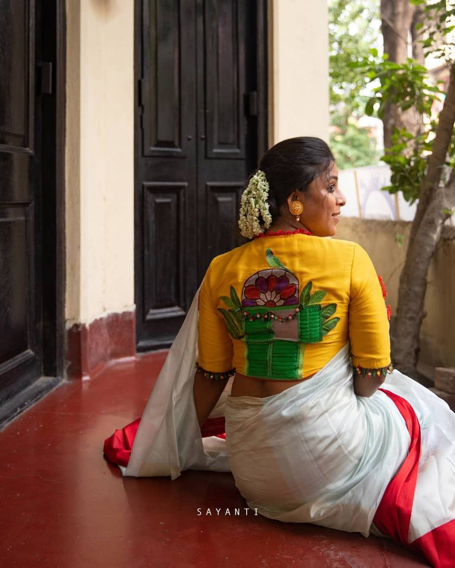 Hnadpainted calcutta theme blouse-Sayanti Ghosh