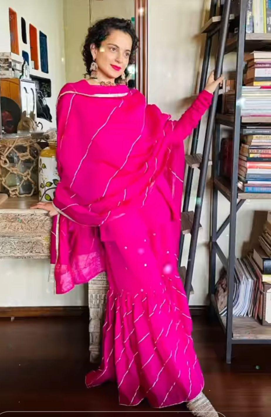 Kangana Ranaut in rani pink sharara set for eid