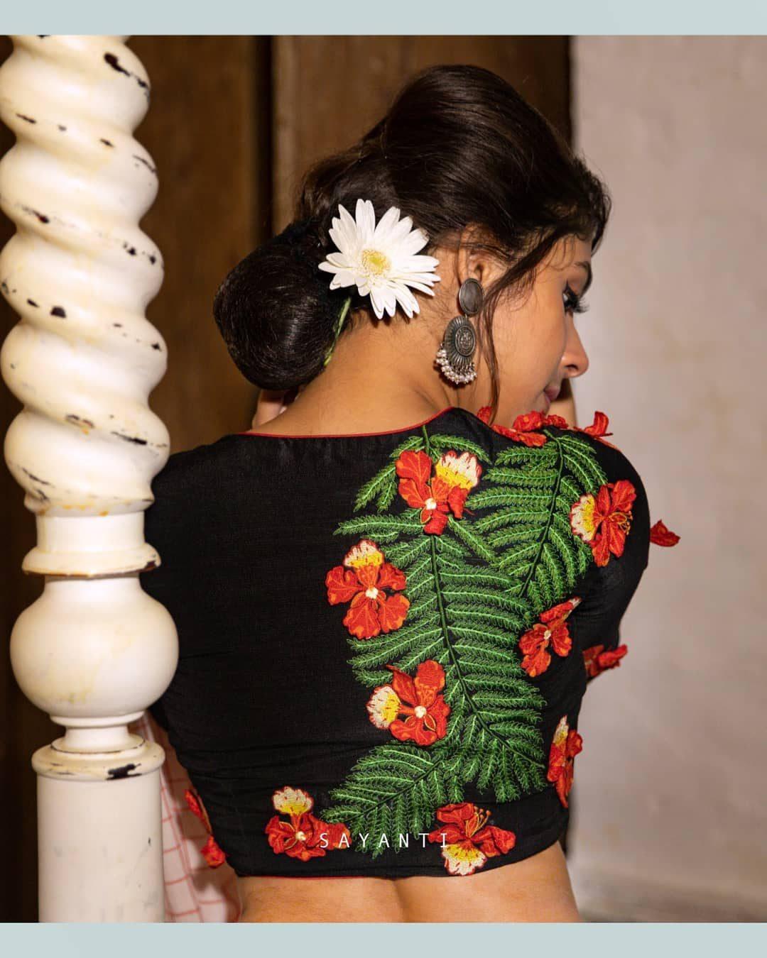 Krishnachura black 3d blouse-Sayanti Ghosh -1