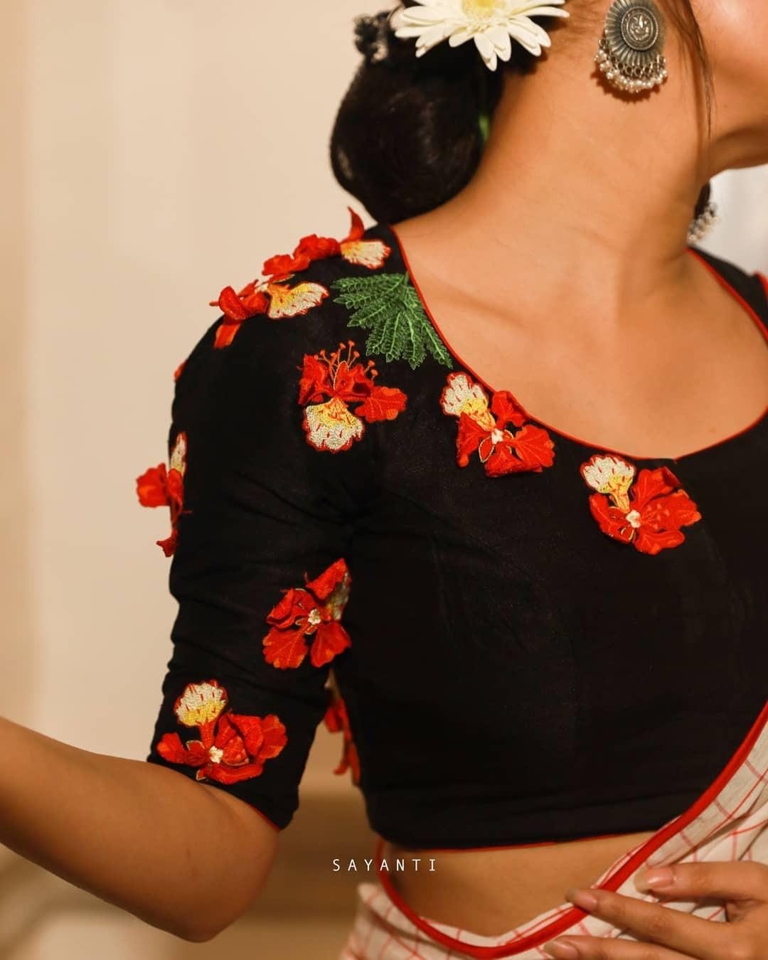 Krishnachura black 3d blouse-Sayanti Ghosh