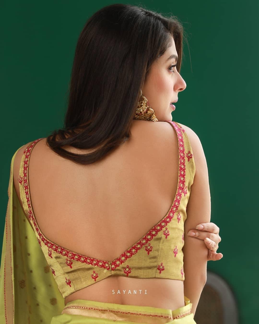 Lime green sleeveless blouse-Sayanti Ghosh-1