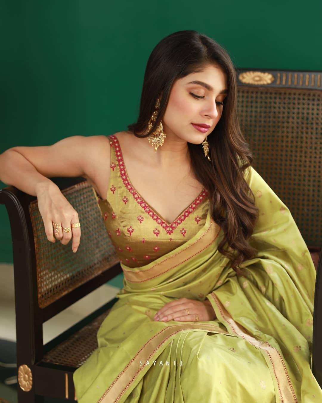 Lime green sleeveless blouse-Sayanti Ghosh