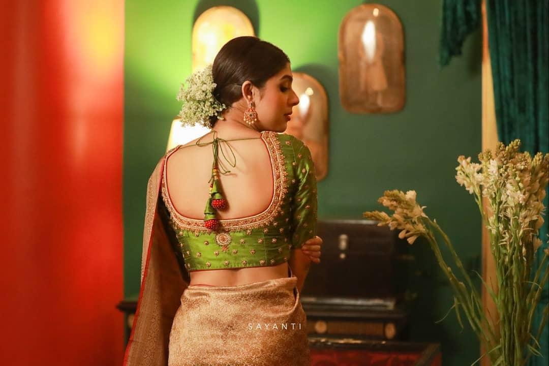 Lime green stone work blouse-sayanti Ghosh-1
