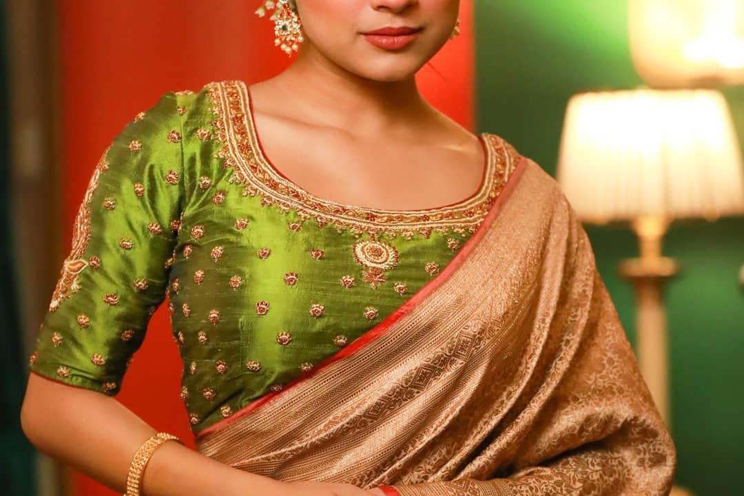 Lime green stone work blouse-sayanti Ghosh
