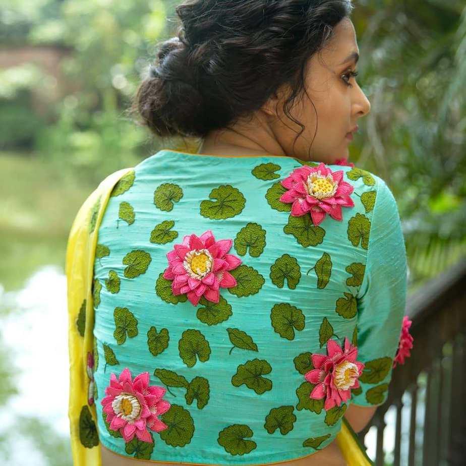 Lotus and lily yellow saree by sayanti ghosh-1