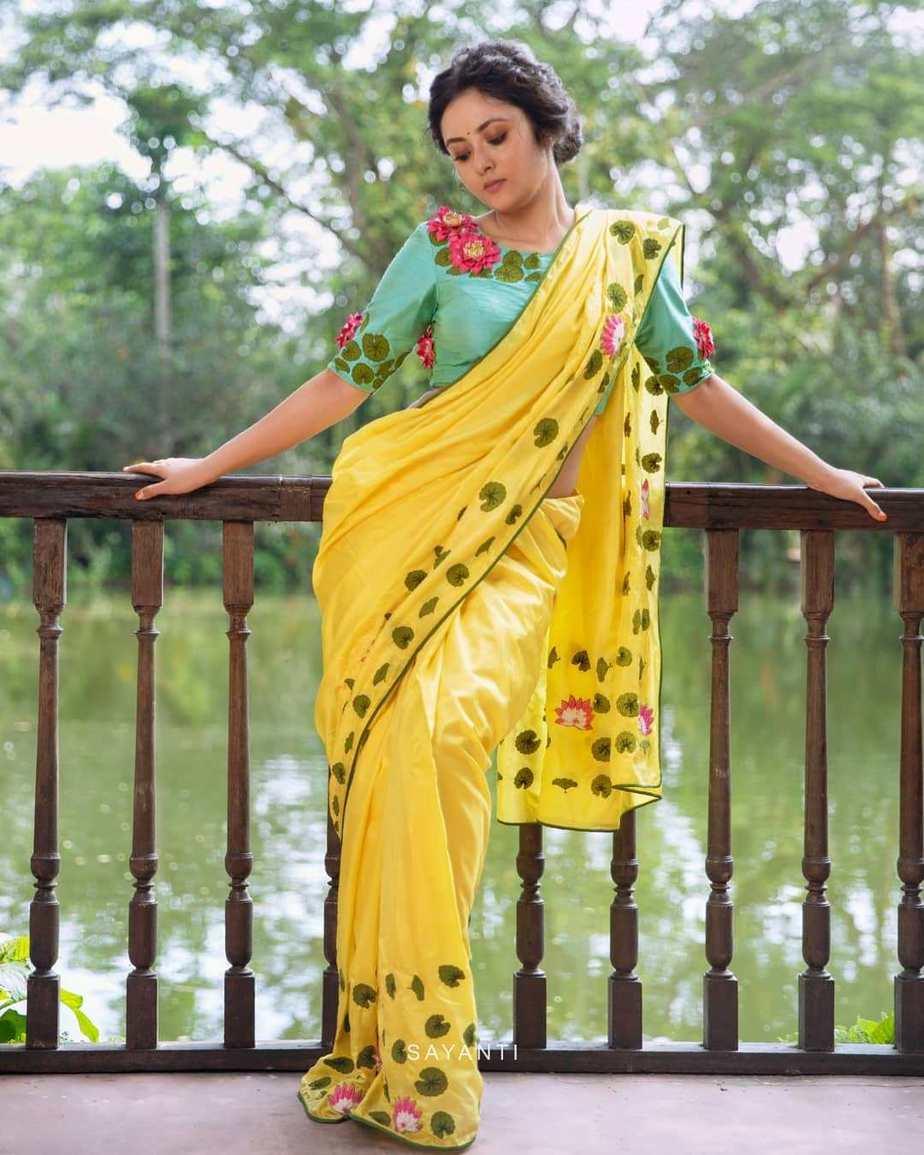 Lotus and lily yellow saree by sayanti ghosh