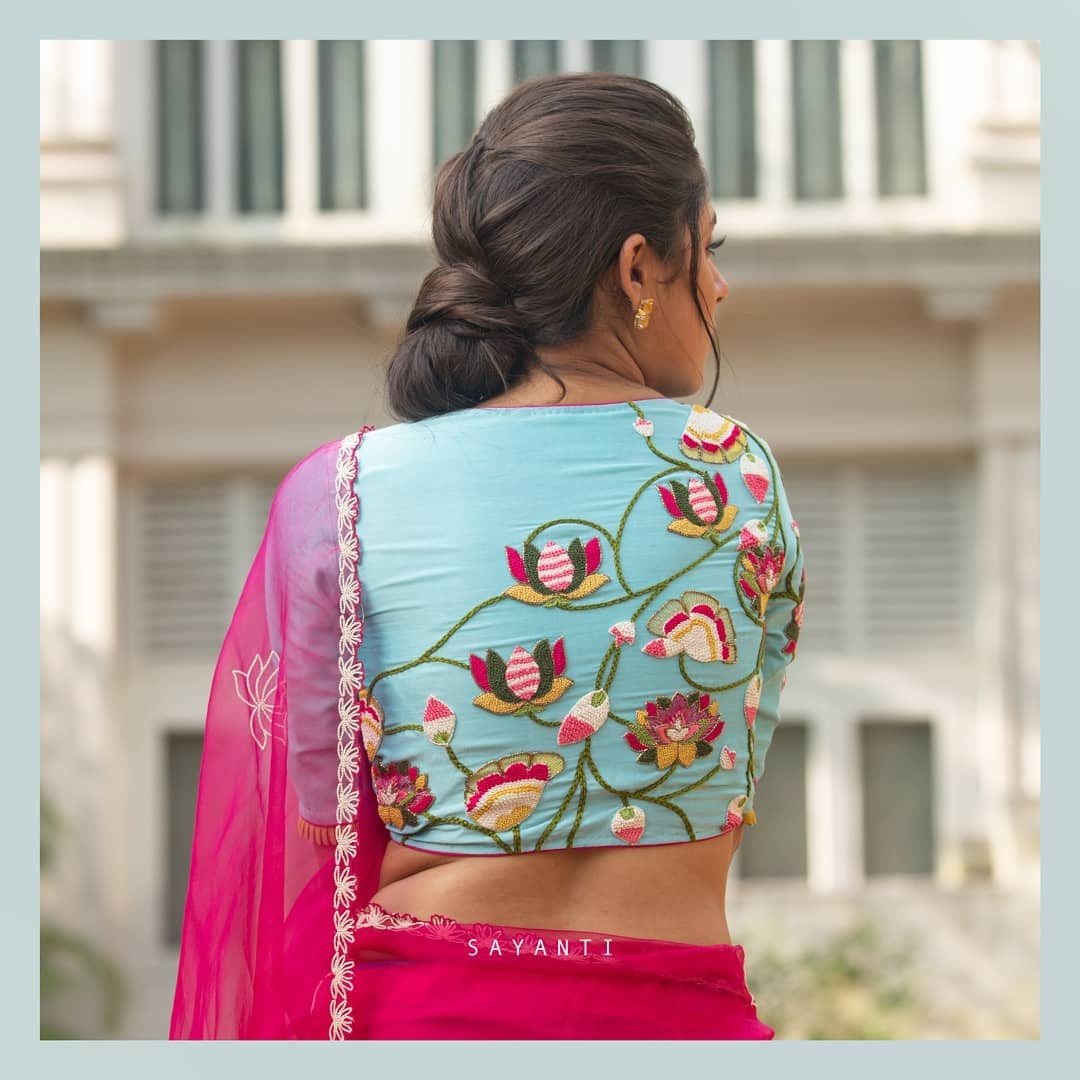 Lotus embroidered blouse-sayanti ghosh