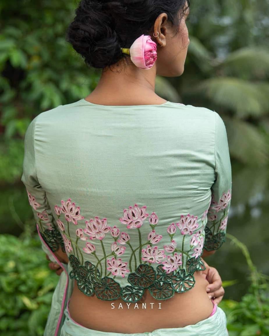 Lotus print mint green-sayanti Ghosh-1