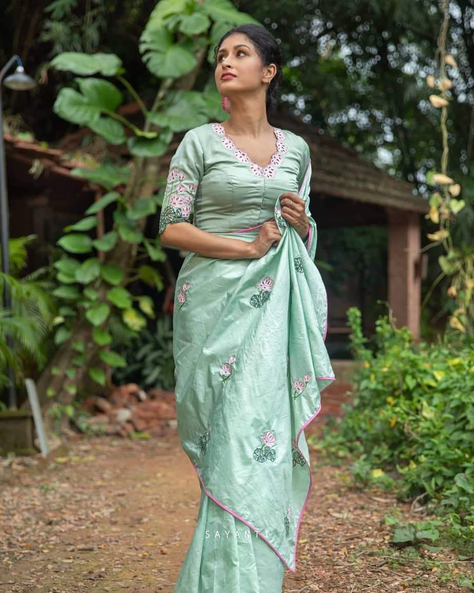 Lotus print mint green-sayanti Ghosh