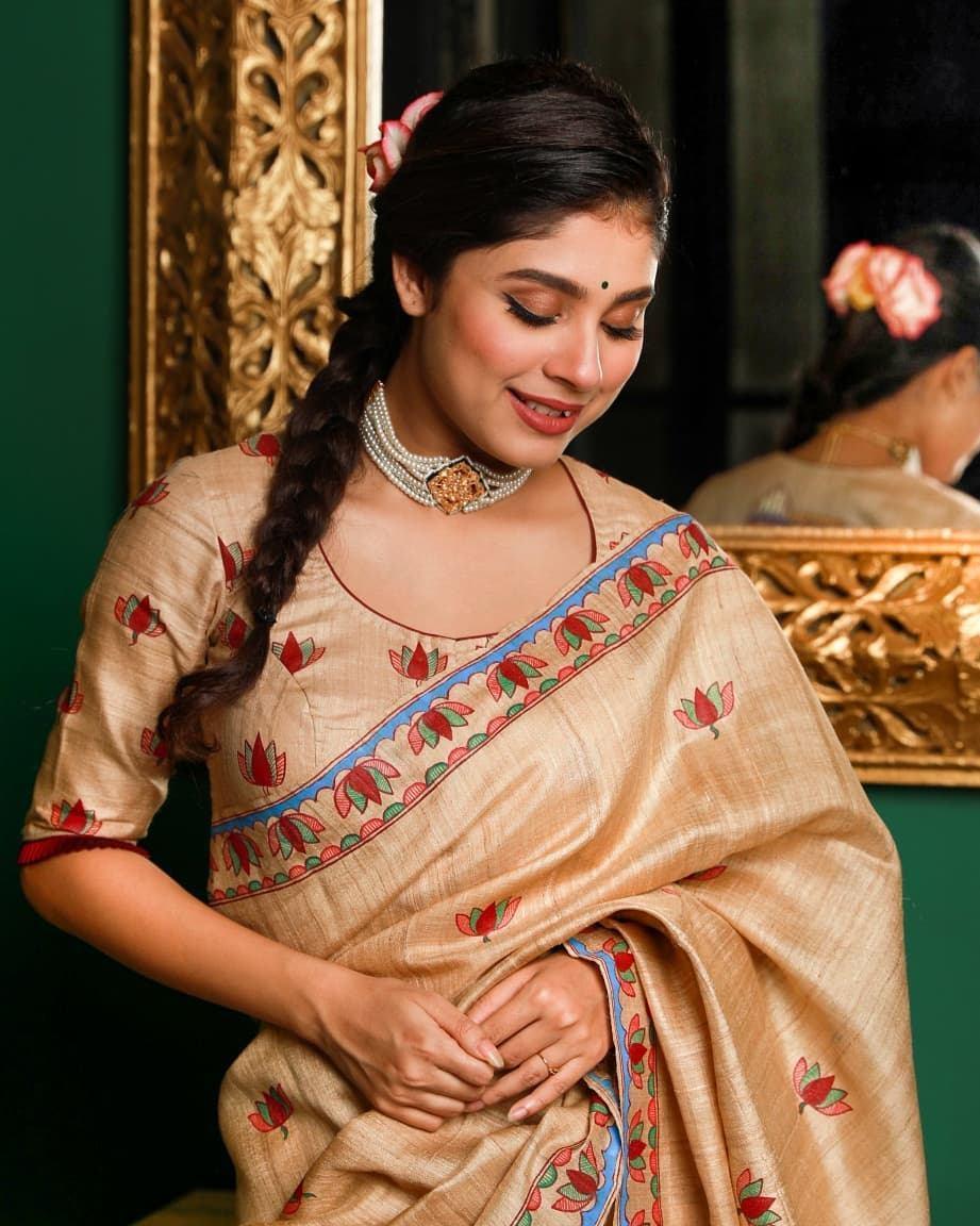 Madhubani painted wedding saree-Sayanti ghosh-2