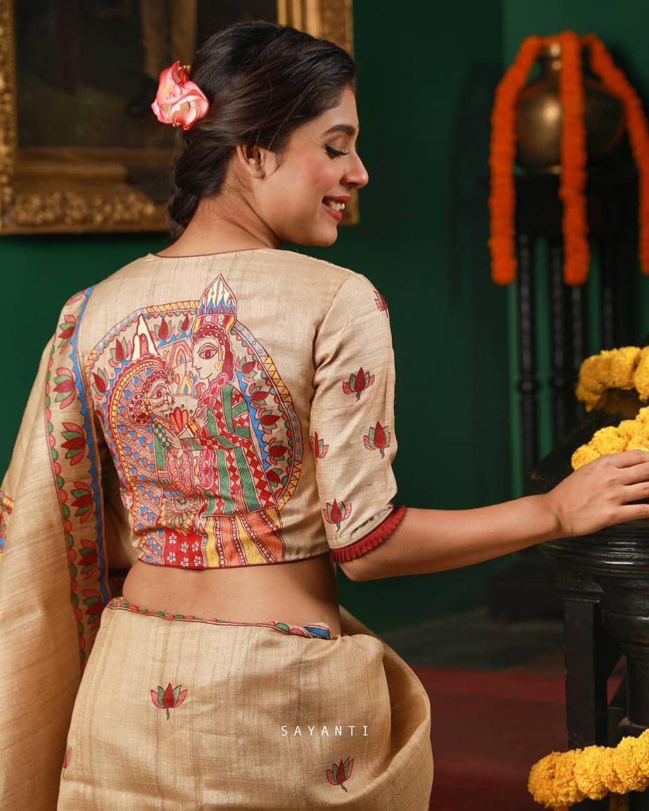 Madhubani painted wedding saree-Sayanti ghosh-3