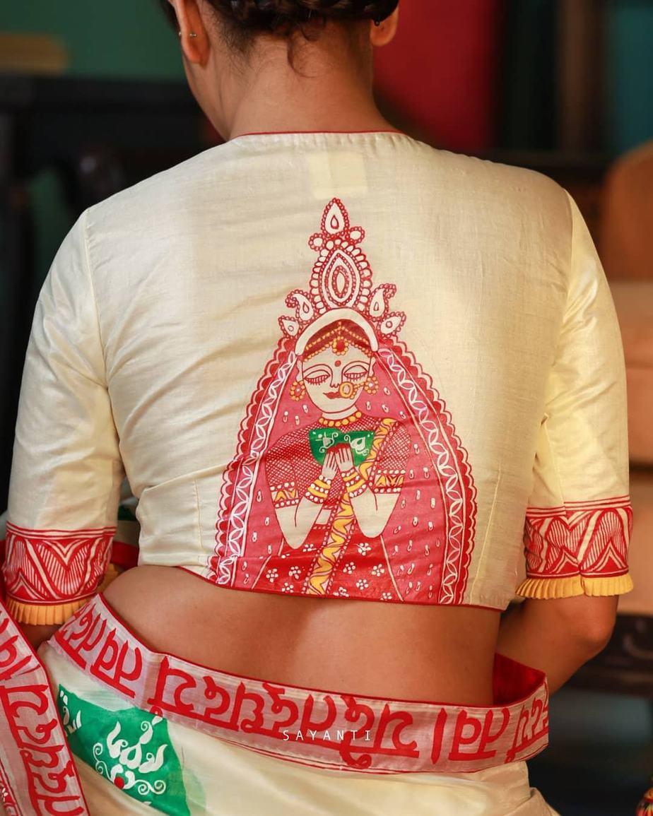 Madhubani painted wedding saree-Sayanti ghosh