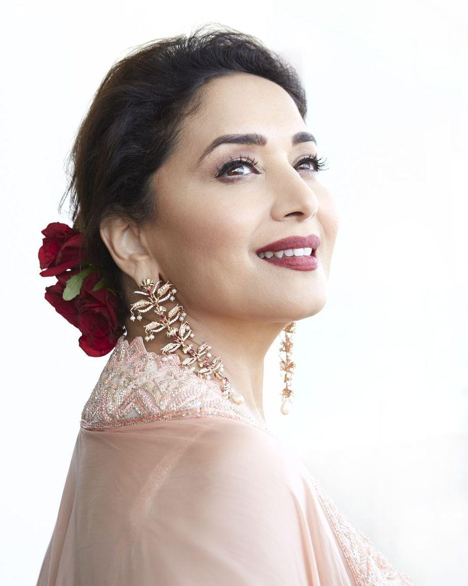 Madhuri Dixit in pink sharara cape set by Ritika Mirchandani for dance deewane-2