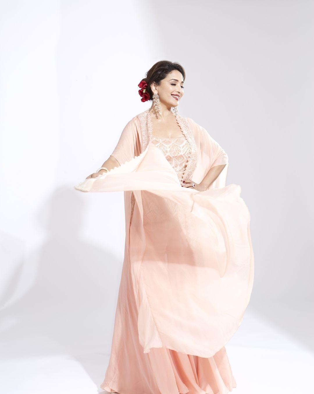 Madhuri Dixit in pink sharara cape set by Ritika Mirchandani for dance deewane