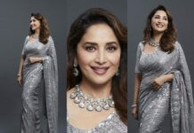 Madhuri Dixit in silver Mnaish Malhotra saree for dnace deewane-featured