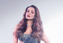 Malaika Arora in blue Manish Malhotra saree for super dancer 4