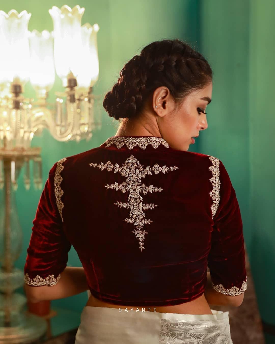 Maroon Velvet blouse-Sayanti GHOSH