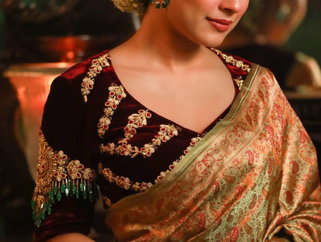Maroon -bajubandh velvet blouse-Sayanti Ghosh-1